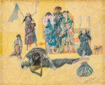 """CANDIDO PORTINARI<br>(1903-1962)<br>Homem Morto<br>Desenho a lápis de cor sobre papel<br>Ass. e datado 55, cid<br>Reproduzido no Catálogo """"Raisonné"""", vol. lll, pág. 481 FCO1690<br>31 x 36 cm<br>Participou das exposições:<br>- """"Portinari, oil paintings and drawings."""", individual, 1940-1956.<br>- Bezalel National Art Museum, Jerusalém.<br>- Tel Aviv Museum, Tel Aviv.<br>- Museum of Modern Art, Haifa.<br>- Museum of Ein Harod, Ein Harod.<br>- """"Portinari: oeuvres récentes"""". Individual, Maison de la Pensée<br>Française, Paris 1957"""