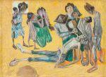 """CANDIDO PORTINARI<br>(1903-1962)<br>Homem Bebendo Água<br>Desenho a lápis de cor sobre papel<br>Assinada e datada 55, cie<br>Reproduzido no Catálogo Raisonné - vol. lll,pg: 481 FCO1692<br>25 x 33 cm<br>Participou das exposições:<br>- """"Portinari, oil paintings and drawings."""", individual, 1940-1956.<br>- Bezalel National Art Museum, Jerusalém.<br>- Tel Aviv Museum, Tel Aviv.<br>- Museum of Modern Art, Haifa.<br>- Museum of Ein Harod, Ein Harod.<br>- """"Portinari: oeuvres récentes"""". Individual, Maison de la Pensée<br>Française, Paris 1957"""