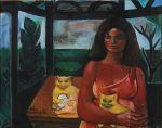 DI CAVALCANTI, EMILIANO<br>(1897-1976)<br>Mulher com Gatos<br>Óleo s/ tela<br>Ass. e datado 69, cie<br>73 x 92 cm